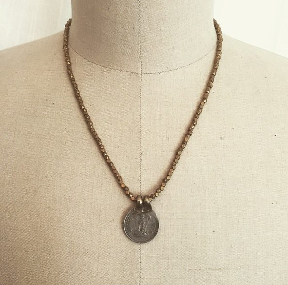 For Good Luck Antique Coin Necklace